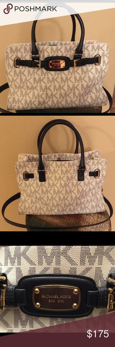 New Michael Kors purse White with blue lettering Michael Kors purse. No scratches, stains or discoloring. Has shoulder strap. Dust bag not included. ***NO TRADES*** Michael Kors Bags Shoulder Bags