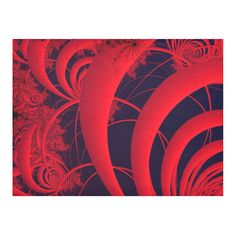 Red And Black Fine Fractal Art Cotton Linen Tablecloth 52