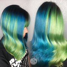 Split Personality-Switch Up Color change on my half-and-half, add bangs! Lightened with Magic Lightener, colored with Pulp Riot and Arctic Fox. B3 added to all colors.