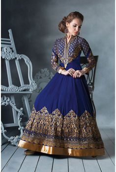 Royal Blue Georgette, Santoon - Glowindian