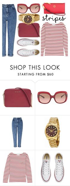 """""""Stay Positive"""" by jomashop ❤ liked on Polyvore featuring Michael Kors, Coach, Miss Selfridge, Rolex, Maison Labiche, Converse, Tory Burch, red and stripes"""