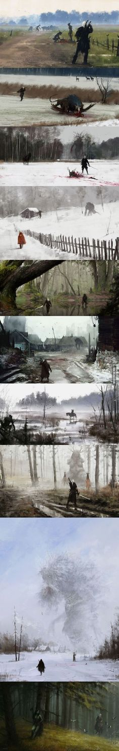 Panoramic views of the world of the Witcher