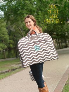 DEAL OF THE WEEK!! **ONLY $15!!!** Taupe Chevron Garment Bag. Look adorable on your next trip as you carry this cute garment bag! Arrive with your items ready to wear instead of folded and in need of ironing! Get yours at http://www.thepreppypair.com/Taupe-Chevron-Garment-Bag_p_22.html