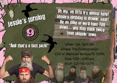 DUCK DYNASTY Invitation HUNTING Girls Birthday Party Girl Theme camo Camouflage photo Invite Personalized Custom card. $14.98, via Etsy.