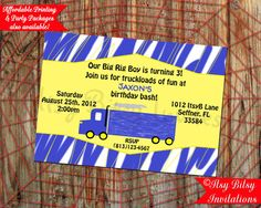 Semi Truck Invitation / Big Rig Invitation by ItsyBitsyInvitations, $10.50