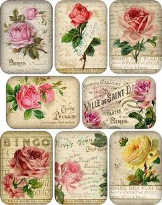 diy basswood with decoupage for garden markers Decoupage Vintage, Éphémères Vintage, Vintage Rosen, Decoupage Paper, Vintage Shabby Chic, Vintage Labels, Vintage Ephemera, Vintage Paper, Vintage Prints