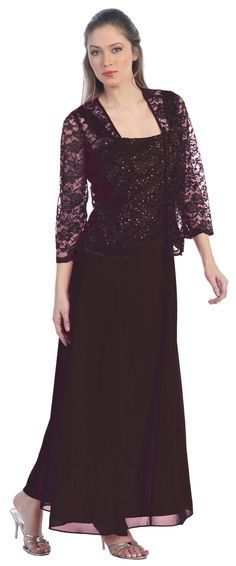Long Chiffon Gold Mother of Groom Dress Lace Long Sleeve Jacket (10 Colors Available)