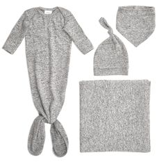 Our snuggle knit newborn gift set is the ultimate way to welcome baby into the world. Made from a supremely soft and super stretchy fabric, these essentials are sure to keep infants comfy no matter the season. The one-size-fits-all knotted baby hat grows with little ones, thanks to its snuggly stretch factor, and the knotted gown is designed with clever features that make life with baby easier. Its easy-access tie bottom allows for no-fuss diaper changes, a flexible neckline for easy…