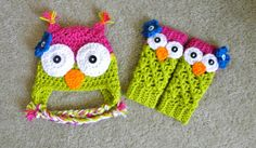 Unique baby gift set  baby girl owl hat and leg by creationsbytiff, $40.00