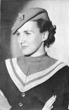 1930s Beret and Collar Set Vintage Crochet