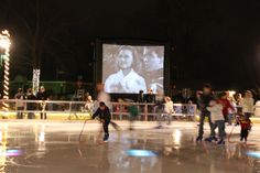 "Oh My Goodness- ""It's a Wonderful Life"" playing at an outdoor ice-skating rink <3"