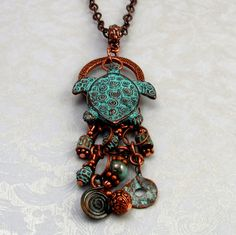 Turtle Pendant Green Patina Mykonos Casting M96 by FabBeads, $3.25
