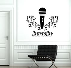 Wall Vinyl Decal Music Karaoke Microphone Notes Cool by BoldArtsy