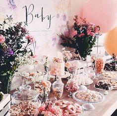 #party #babyshower #pink #desserttable #decorate #flowers