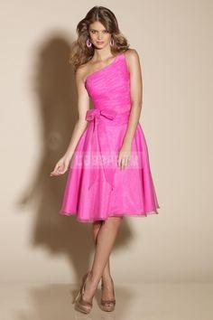 Organza Modern Hot Pink Bowknot Bridesmaid Dress