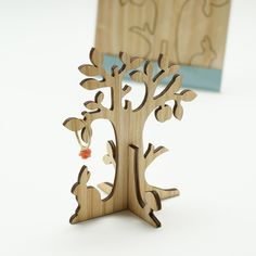 Wooden ring tree laser cut in cedar thinning of Japan