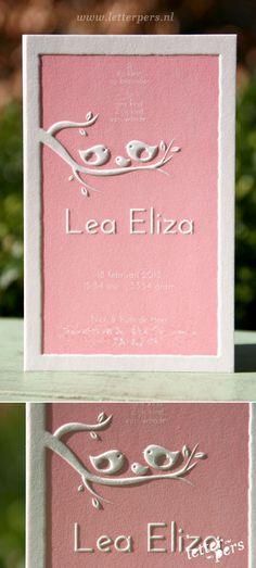 letterpers_letterpress_geboortekaartje_Lea_vogels_relief_roze