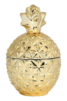 Pineapple-shaped glass jar: Pineapple-shaped glass jar with a silver-coloured surface and a lid. Diameter approx. 10 cm, height 17 cm.