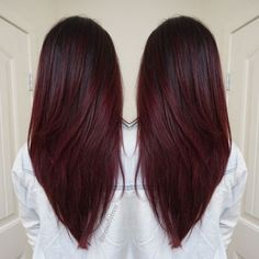 V Haircuts for Long Hair - Dark Red Violet Plum, Ombre Balayage, Winter Hair…