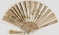 Fan Made in France, Europe  Late 19th century  Artist/maker unknown, French  Ecru silk satin with embroidery; mother-of-pearl sticks; silk backing and tassel 12 1/2 x 24 inches (31.8 x 61 cm)  Currently not on view  1958-88-24 Gift of Mrs. Henry W. Breyer, Sr., 1958