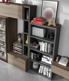 Mueble-librería de la colección Signos Bookcase, Shelves, Led, Home Decor, Templates, Salons, Organize, Blanco Y Negro, Furniture