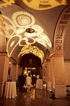 The entrance hall to reception. Easily done with low level lights projecting onto the ceilings