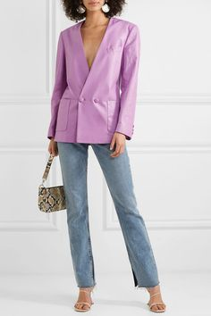 Lilac leather Double-breasted fastening at front leather (Calf); lining: cupro Specialist clean Made in Italy Runway Fashion, Fashion Outfits, Leather Blazer, Ruched Dress, Fashion Over, Simple Outfits, Double Breasted, What To Wear, Gucci