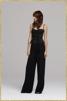 Sass & Bide | Pre-Fall 2015 | 14 Black fringed belted strappy top and wide trousers