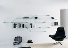 Nella Vetrina offers an extensive selection of modern and contemporary designer Italian glass furniture. Our collection brings together the work of dozens of leading designers. A variety of glass finishes and sizes are available upon request Unique Wall Shelves, Glass Wall Shelves, Wall Shelf Decor, Wall Mounted Shelves, Wall Shelving, Glass Bookcase, Bookcase Wall, Modern Storage Furniture, Glass Furniture