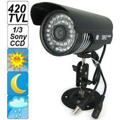 """SecurityIng® Schwarze Gehäuse 420 TVL 1/3"""" Sony CCD Bunte Nachtsicht Innen / Außen Gewehrkugel CCTV Überwachungskamera, 36PCS IR LEDs Video Surveillance System-Kamera Unterstützung 30m Entfernung anzeigen, IP66 Wasserdichtes Niveau"""