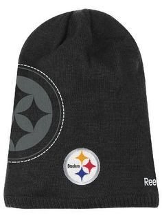 Pittsburgh Steelers Reebok 2010 Player Sideline Cuffless Long Knit Hat by Reebok. $13.49. Manufactured by Reebok. Stylish Long knit cap. Oversized printed logo on the side. Officially licensed by the NFL. Official sideline apparel. Stay warm while wearing exactly what is worn on the field with this NFL On Field official sideline cuffless long Knit Cap from Reebok. This Long knit hat features embroidered flat team logo on the front, oversized team logo & white r...