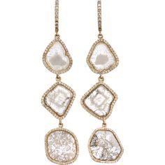 Monique Péan Diamond Slice & Pave Diamond Three-Tier Earrings at Barneys.com