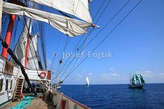 Sedov sail training ship, Alexander von Humboldt barque in the bacground, Funchal 500 Race 2008, Atlantik Ocean