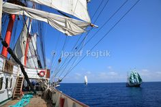 Sedov sail training ship, Alexander von Humboldt barque in the bacground, Funchal 500 Race 2008, Atlantik Ocean