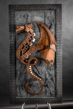 dragon cardboard sculpture