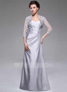A-Line/Princess Sweetheart Floor-Length Taffeta Mother of the Bride Dress With Ruffle Lace Beading Sequins (008040828)