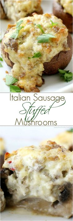 Perfect for a party, or as a side dish for your meal... you have to try these sausage stuffed mushrooms! They're creamy, flavorful, and EASY!: