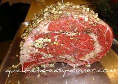 Roasted Garlic Prime Rib Recipe, Prime Rib Roast Recipe -Yep, this will be Christmas dinner! Rib Recipes, Roast Recipes, Dinner Recipes, Cooking Recipes, Cooking Ribs, Cooking Tv, Game Recipes, Carne Asada, Garlic Prime Rib Recipe