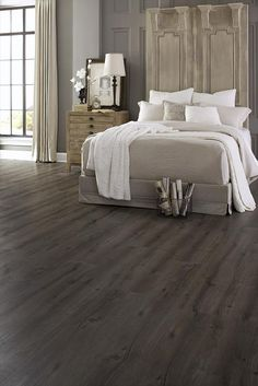 BuildDirect – Vinyl Planks - 6mm WPC Oregon Trail Long Plank Collection – Slate - Bedroom View