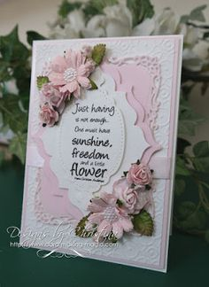 Hi Everybody, A really pretty pink and white floral card is on offer today and this is prettier in the hand than the photo shows.  It is in my favorite colour and with all the things I like to add esp