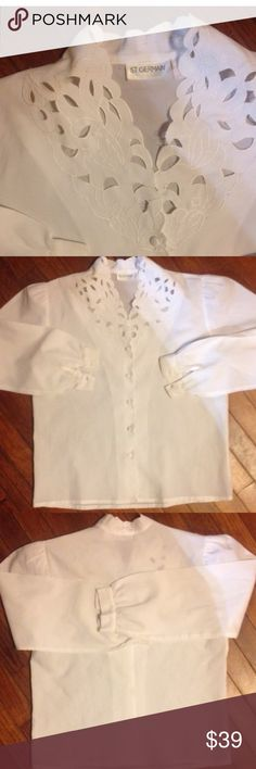 Hollow Out Blouse Hollow Out Blouse White Sheer Button Up Size Medium St GERMAIN of Paris like new worn once no stains holes rips NOT J.crew this brand isn't featured on here so did it for exposure J. Crew Tops Blouses