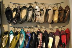 DIY hanging shoe organizer!