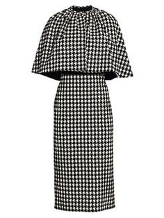 Shop online black Gucci houndstooth cape dress as well as new season, new arrivals daily. Cape Dress, Batwing Sleeve, Houndstooth, Sheath Dress, Dress Outfits, Midi Dresses, Wool Blend, What To Wear, Women Wear