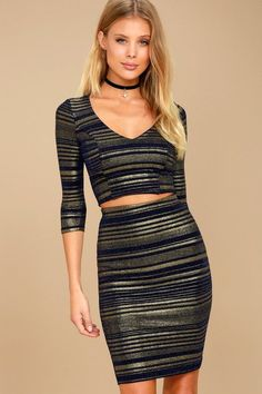 813781d307b4 Shimmer Down Navy Blue and Gold Striped Two-Piece Dress