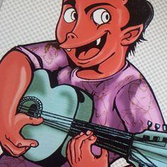Diablo con guitarra azul... Ya casi terminamos. Trabajo en colaboración con @evannyrangel  #CorramosLasOlas con @surfenio  #draw #dibujo