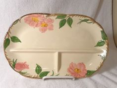 """Vntg Franciscan Ware 3-Part Oval Relish Dish in the Desert Rose Pattern ~ 12"""" L (eBay) - $10"""