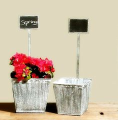 $20.50 {Spring Time} Distressed Tin Planter W/ Chalkboard, Set Of 2 ~Enjoy one decor deal a day from WUSLU ~www.wuslu.com