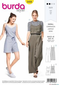 Burda Style Pattern Misses& Jumpsuit in Various Lengths - Ed Argentieri Burda Sewing Patterns, Simplicity Sewing Patterns, Clothing Patterns, Dress Patterns, Patron Simplicity, Patron Butterick, Maternity Patterns, Diy Clothes, Sewing Projects