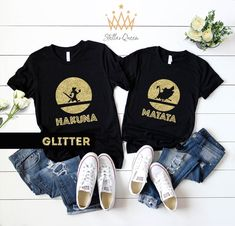 Excited to share the latest addition to my shop: Hakuna Matata Disney GOLD GLITTER Matching shirts, Disney couple shirts, Couple matching Best Friend Matching Shirts, Matching Disney Shirts, Matching Couple Shirts, Best Friend Shirts, Bff Shirts, Vinyl Shirts, T Shirts With Sayings, Family Shirts, Disney Couple Shirts