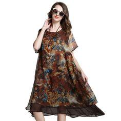 Loose Long Floral Printed Chiffon Dress Short Sleeve Summer Layered Midi Dresses Plus Size Women Clothing xl,2xl,3xl,4xl